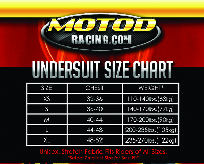 Summer Undersuit Sizing Chart